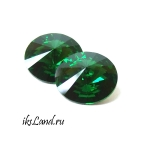 Swarovski rivoli 14мм; цвет DarkMossGreen, 1 шт
